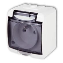 Jednozásuvka GHE-1D biela dymová klapka
