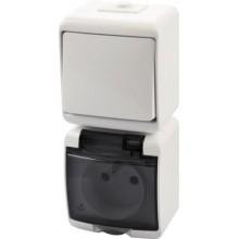 Vypínač č.1+zásuvka WGHP-1 biely