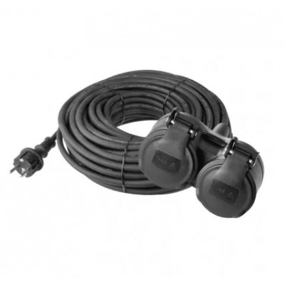 Predlžovací prívod čierny gumený 15m, 2 zásuvky