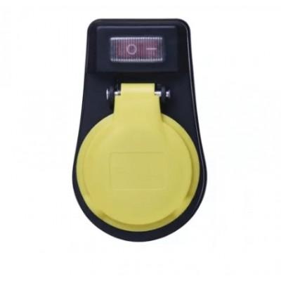 Zásuvka s vypínačom IP44 čierna P00271