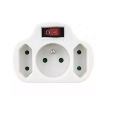 Zásuvka rozbočovacia 2x plochá + 1x guľatá s vypínačom P0029
