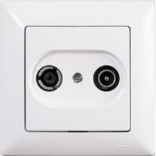 Zásuvka TV+R priebežná Visage Simple biela