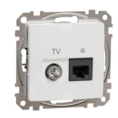 Zásuvka dátová TV+RJ45 CAT6 biela SDD111469T