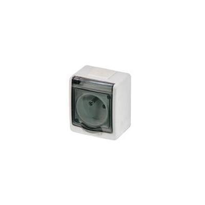Zásuvka vodotesná, nástenná, biela, IP44