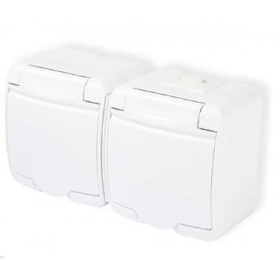 Zásuvka dvojitá, vodotesná, nástenná, biela, IP44