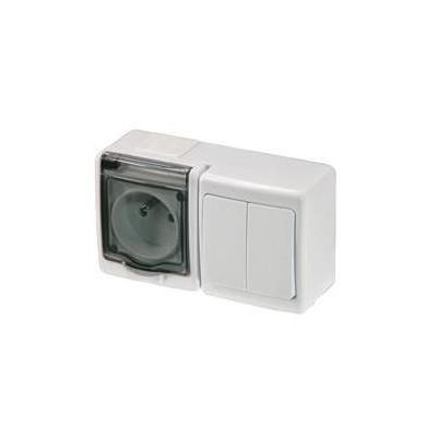 Zásuvka + spínač č.5 vodotesná, nástenná, biela, IP44