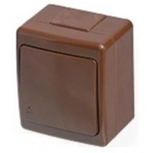 Zásuvka vodotesná nástenná hnedá, IP44