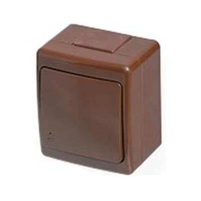 Zásuvka vodotesná, nástenná, hnedá, IP44